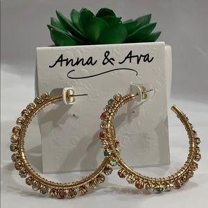 Anna & Ava Wire-wrap MULTICOLOR 'Stones Gold Hoops